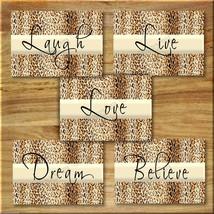 Leopard Cheetah Wall Art Prints Motivational Quote Love Laugh Live Dream... - $16.29