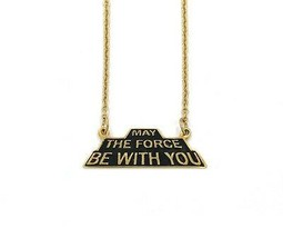 Star Wars May The Force Be With You Shadow Series Necklace - Gold Han Cholo NEW image 1