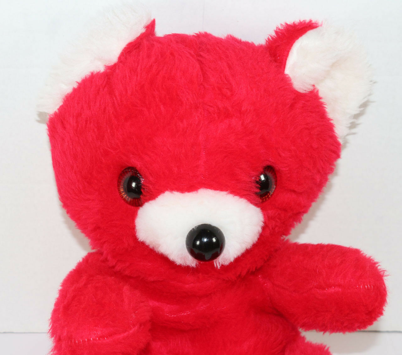 Vintage COMMONWEALTH RED AND WHITE VALENTINE TEDDY BEAR Stuffed Plush ANIMAL TOY
