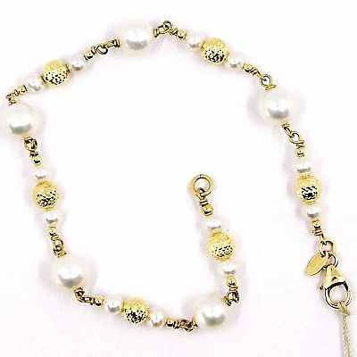 BRACELET YELLOW GOLD 18K 750 WITH WHITE PEARLS,SPHERES YOU WORK 5 MM,ITALY MADE
