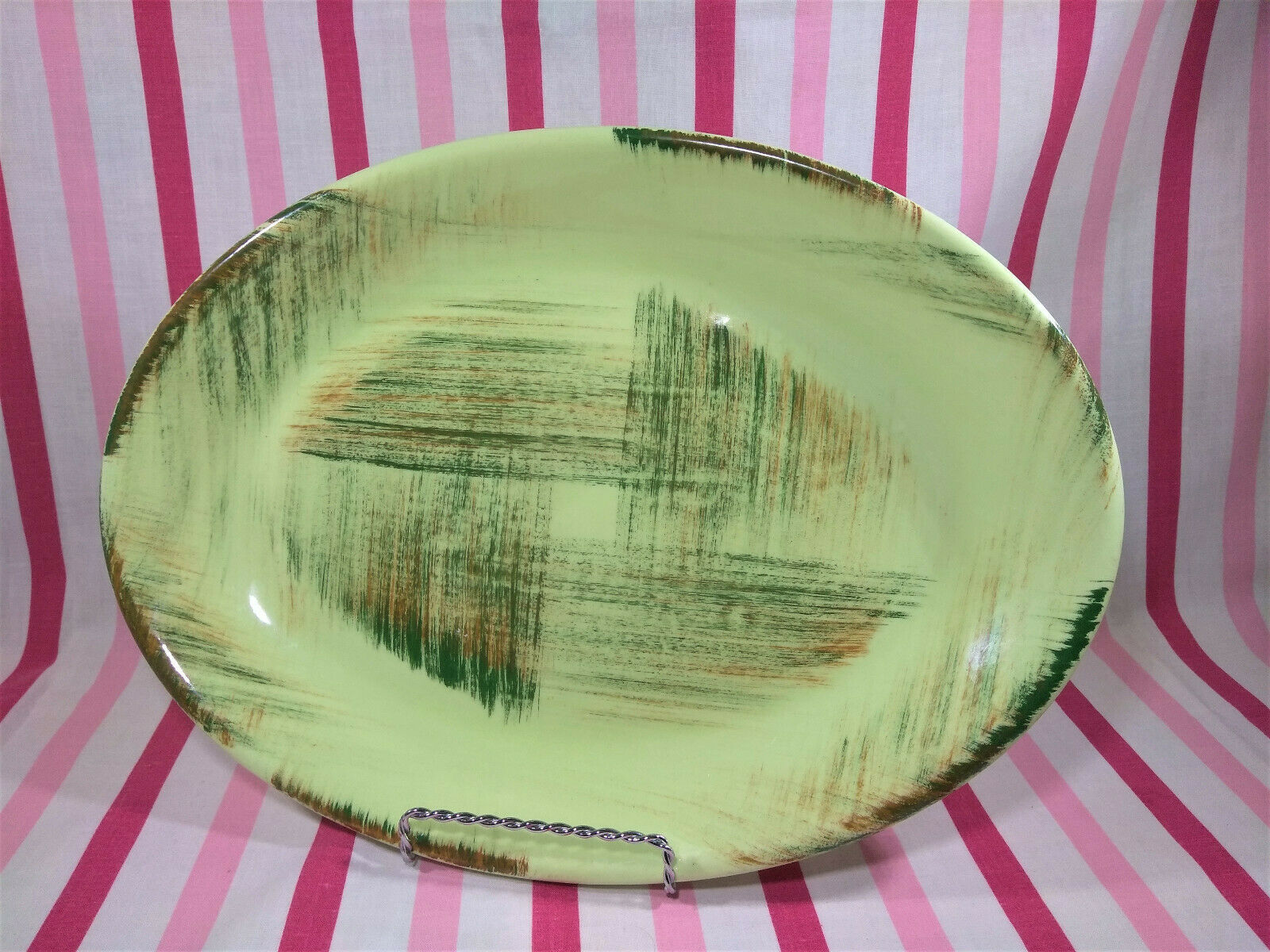 Metlox pottery vtg mid century Vernonware rare Raffia ceramic cups saucers set!