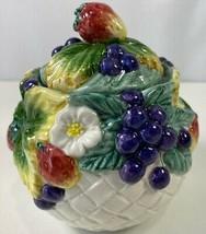 Fitz & Floyd Vintage Lidded Sugar Bowl White Multicolor Strawberries Grapes - $19.79