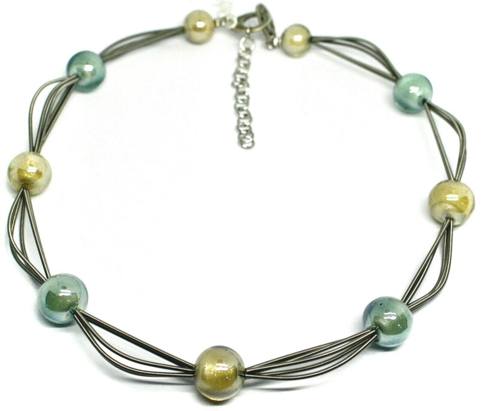 """MULTI WIRES NECKLACE YELLOW BLUE BIG MURANO GLASS SPHERES, 50cm 20"""" ITALY MADE"""