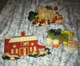 Burwood Homco 1975 Barn Country House Wall Hanging Picture 3D Plaque 3 pcs - $63.65