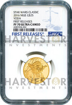 2016 GOLD STAR WARS CLASSIC - YODA - NGC PF70 FIRST RELEASES W/OGP - 5 E... - $1,784.99