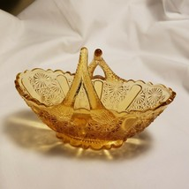 "Fenton Davidson Amber Daisy Button Ribbed Basket Split Twig Handle 6""L x... - $15.00"