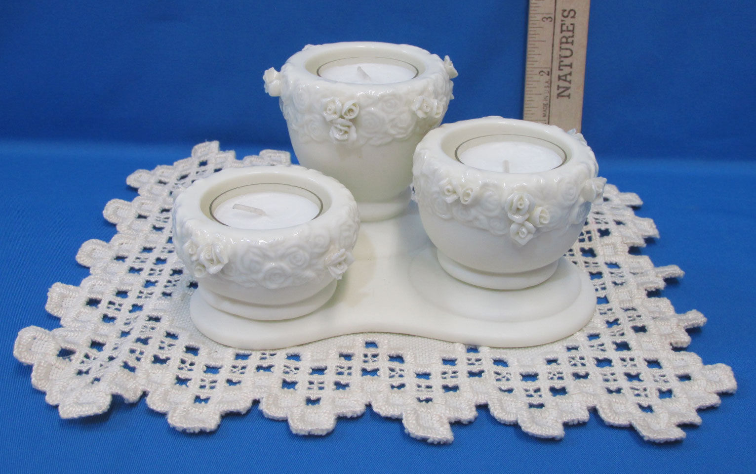 Primary image for Partylite Rose Urn Tealight Candle Holder Includes Candles & Vintage Doily