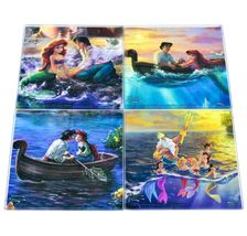 Thomas Kinkade Disney's Little Mermaid Prints 4 Piece Fused Glass Coaster Set image 6