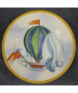 Williams-Sonoma Montgolfiere Salad Plate Blue & Green Hot Air Balloon Porcelain - $21.95