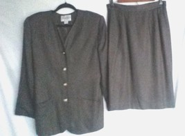 Vintage Amanda Smith Women's Skirt Suit Size10 Brown Black Gold Buttons ... - $19.31