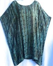 "TIENDA HO~Green Aztec~44""Bust~Caftan Crinkle Rayon Top/Dress~NWT~OS S M ... - $49.99"