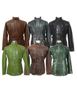 Mens leather jacket Military belt soft wax Genuine Gents Motorbike Panth... - $198.61+
