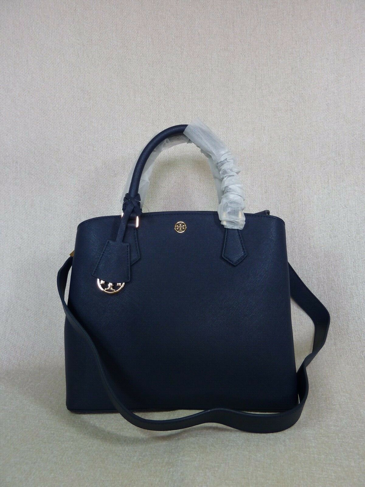 Primary image for NWT Tory Burch Navy Saffiano Leather Robinson Triple-compartment Tote $458