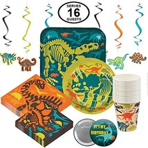 Dinosaur Dino Birthday Party Supplies Disposable Tableware Set for 16 La... - $37.52