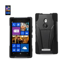Reiko Nokia Lumia 925 Hybrid Heavy Duty Case With Kickstand In Black - $6.87