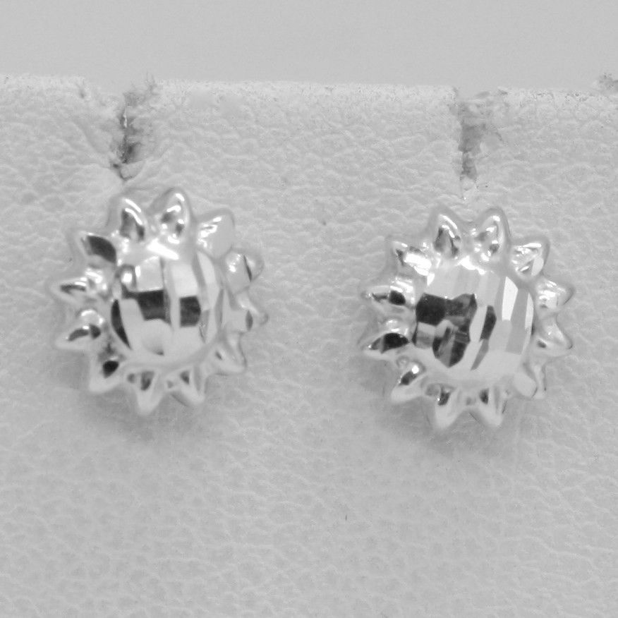 18K WHITE GOLD EARRINGS WITH VERY SHINY SUN WORKED MADE IN ITALY 0.28 INCHES