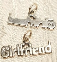 GIRLFRIEND WORD STERLING SILVER CHARM 925 PENDANT image 1