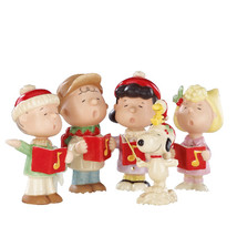 Lenox Peanuts Christmas Caroling Figurines Charlie Brown Snoopy Lucy Sally NEW - $272.25