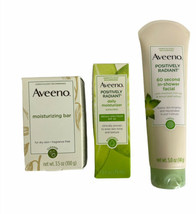 3 Aveeno Positively Radiant Daily Moisturizer, In Shower Facial & Bar Soap  - $24.11