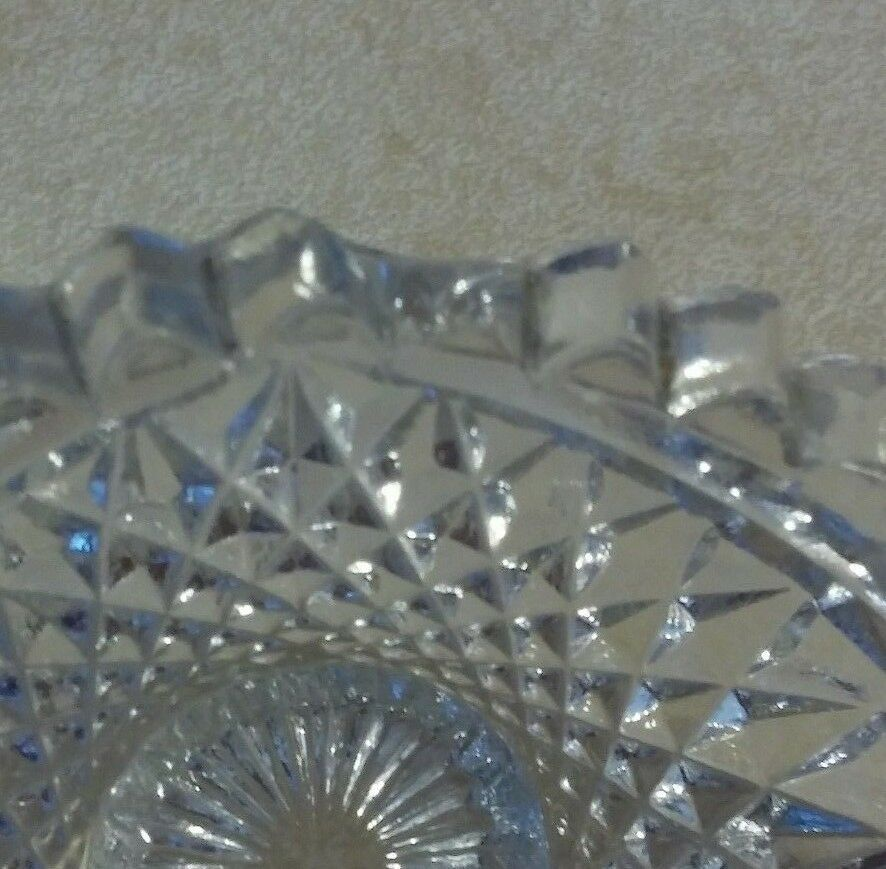 IMPERIAL GLASS NUCUT TWO HANDLED NAPPY/CANDY DISH SAWTOOTH EDGES/HOBSTAR DESIGN