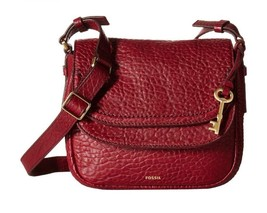 Fossil Wine Red Leather Peyton Small Double Flap Crossbody Messenger - $85.96