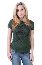 Rogue Status Mujer Júnior Hunter Verde/Negro Carlin Armado Cerrado Rock T-Shirt