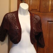 NWT Talbots Brown Beaded Shawl Short Sleeve Bolero Shrug Cardigan Sweater Sm 4 image 5