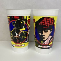 """Set 2 VTG McDonalds Collectibles Plastic 7"""" Tumblers Drink Cups Dick Tracy Movie - $19.79"""