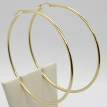 18K YELLOW GOLD ROUND CIRCLE EARRINGS DIAMETER 67 MM, WIDTH 2 MM, MADE IN ITALY image 1