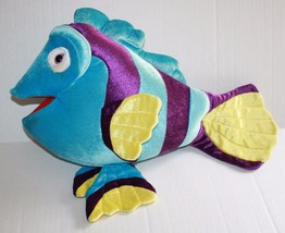 "Blue Purple Plush Striped TROPICAL FISH Big 19"" Stuffed Animal Pink Eye ... - $21.17"
