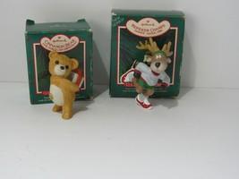 Lot of 2 Vintage 1986 Hallmark Collectors Series Cinnamon Bear & Reindee... - $16.78