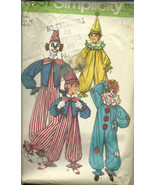 Clown Costume Sewing Pattern Adult Size 34 Small Unisex Simplicity 9051 ... - $6.92