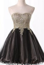 Sweetheart Tulle Prom Dresses Short with Beads and Applique Homecoming D... - $126.00