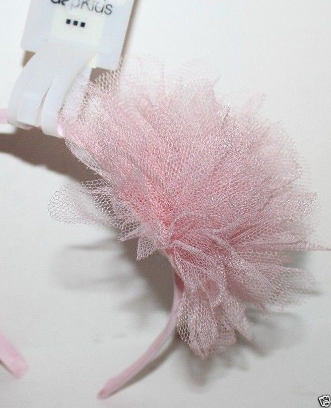 Gap Kids NWT Girl's Lt. Pink Headband w/ Tulle Puff Rosette - Fits ages 4-12
