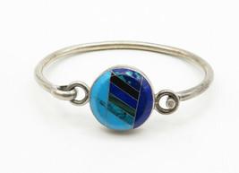 MEXICO 925 Silver - Vintage Turquoise & Multi-Stone Bangle Bracelet - B6265 image 2