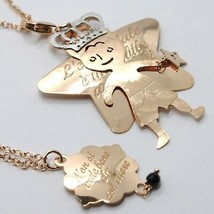 925 Sterling Silver Necklace Laminated Pink Gold in le Fairytale Prince & Star image 1