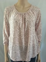 Sonoma Life Style Pastel Pink Polka Dot Blouse Top Size Small S - $16.79