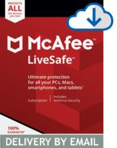 Mcafee Livesafe 2020 - 1 Year Unlimited Devices - Windows Mac - Download Version - $13.99