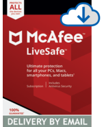 MCAFEE LIVESAFE 2020 - 1 Year UNLIMITED DEVICES - Windows Mac - DOWNLOAD Version - $11.99