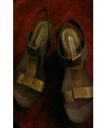 Donald J Pliner Bronze Cork  Women's Wedge Heels Slingback Strappy Sanda... - $48.50