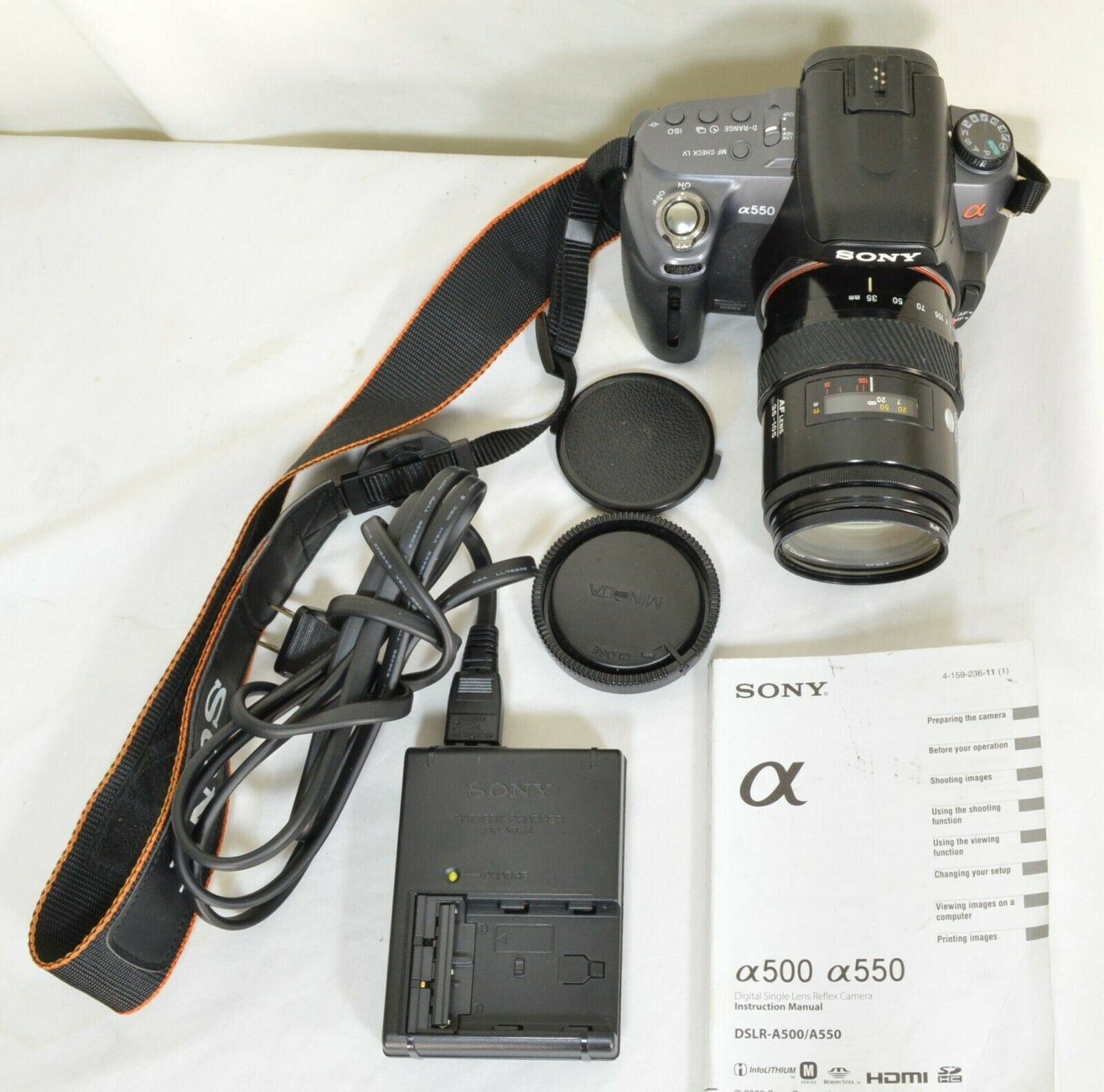 Sony Alpha DSLR-A550 14.2MP DSLR Camera Minolta Maxxum 35-105mm f/3.5-4.5 AF Len image 10