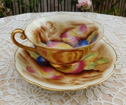 Vintage Cup Saucer Pansies Flowers Hand Painted Occupied Japan Gold - $15.00