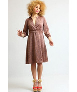 H&M Retro Style Coffe Print Dress American Hustle - Silky effect - $19.99