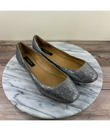 NEW Ann Taylor Silver Glitter Sparkle Slip On Ballet Flats Womens Size 6.5 - $59.95