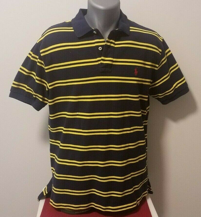 Men's Ralph Lauren Blue & Yellow Short Sleeve Polo Shirt, Size Large