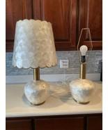 Pair True Vintage Capiz Shell Table Lamps Antique Lights 70s Brass Bulbous Base - $196.00