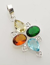 Colorful Genuine Quartz .925 Sterling Silver Pendant Anniversary Gift Fo... - $7.91