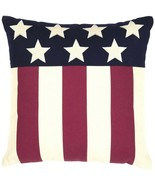 "Americana Pillow Modern Flag Red White Blue Stars Stripes 18"" Canvas - $28.62"