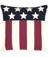"Americana Pillow Modern Flag Red White Blue Stars Stripes 18"" Canvas - $28.62"