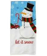 "Set of 2 ""Let It Snow"" Kitchen Towels Snowman & Red Truck NWT 15"" X 25"" - $7.00"